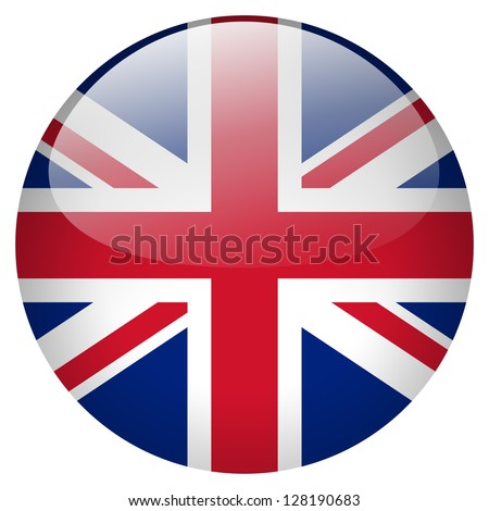 UK flag button - stock photo