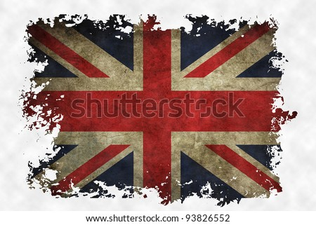UK flag on old vintage paper in isolated white background, can be use for background design and vintage related concept. - stock photo