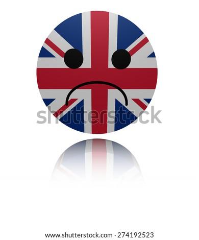 UK flag sad icon with reflection illustration - stock photo