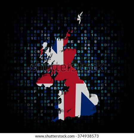 UK map flag on hex code illustration - stock photo