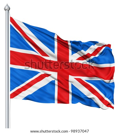 UK national flag waving in the wind - stock photo