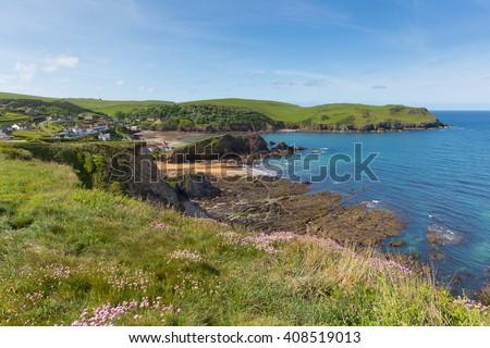 Uk south coast Hope Cove Devon near Salcombe in summer - stock photo