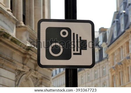 UK Speed Camera Sign in London - stock photo
