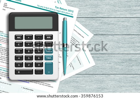 UK tax form with calculator lying on wooden desk with place for text - stock photo