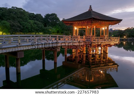 Ukimido Pavilion and the reflections in the pond, Nara, Japan - stock photo