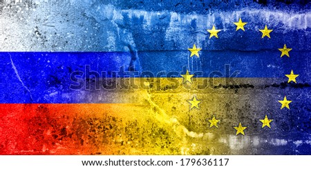 Ukraine, EU and Russia Flag painted on grunge wall - stock photo