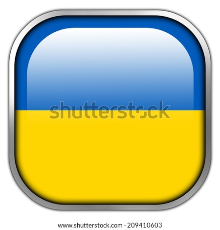 Ukraine Flag square glossy button - stock photo
