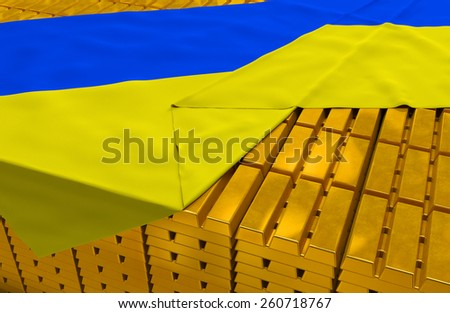 Ukraine gold reserve stock: golden bars (ingots) are covered with ukrainian flag in the storage (treasury) as symbol of national gold and foreign currency reserves, financial health, economic growth - stock photo