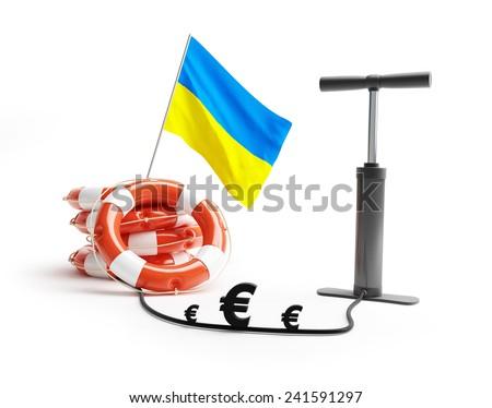 Ukraine lifebuoy pump euro money on a white background  - stock photo