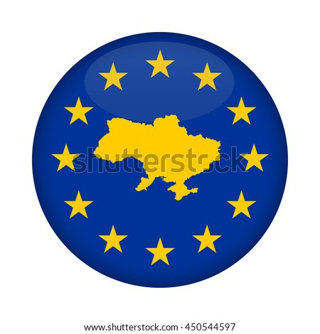 Ukraine map on a European Union flag button isolated on a white background. - stock photo