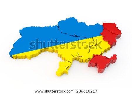 Ukraine map with allocated red Donetsk, Lugansk and Crimea regions - stock photo
