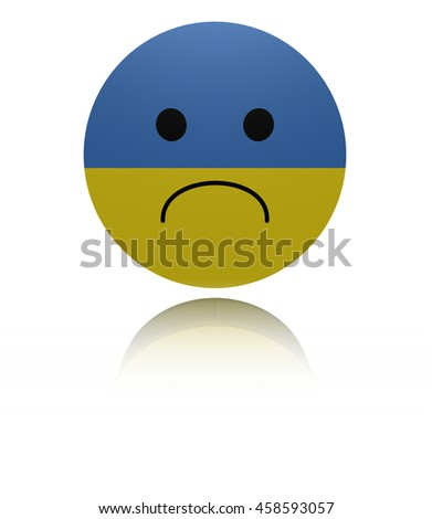 Ukraine sad icon with reflection 3d illustration - stock photo