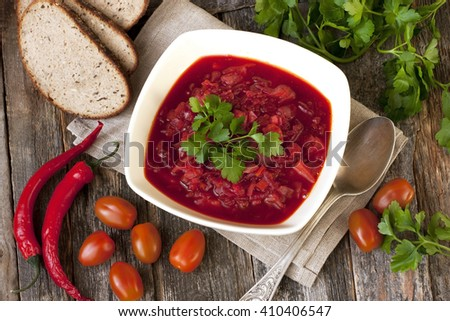 Ukrainian and russian national red borscht of vegetables and meat - stock photo