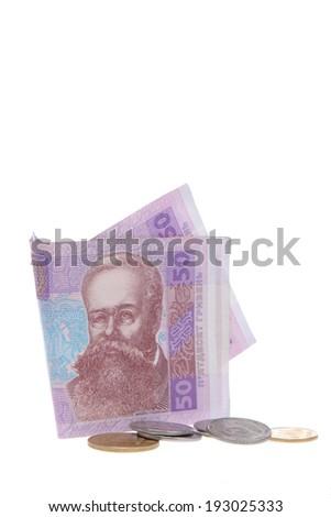 Ukrainian banknotes and coins/Ukrainian money isolated on white - stock photo