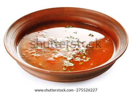 Ukrainian beetroot soup - borscht, isolated on white - stock photo