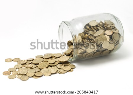 Ukrainian Coins In Bank  Isolated On White Background - stock photo