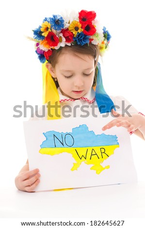 Ukrainian sad kid holding map of Ukraine with anti-war protest sign, isolated over white - stock photo