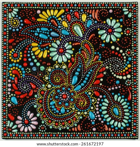ukrainian traditional art point painting on black background, handmade artwork with decorative flower - stock photo