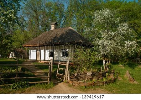 Ukrainian village in the spring - stock photo