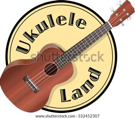Ukulele on background, similar to a logo and sign. - stock photo