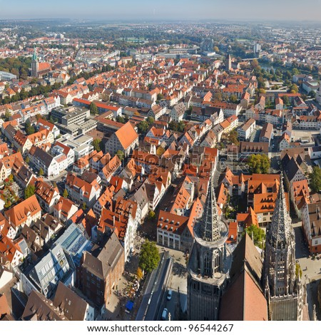 Ulm, Germany. View from the top of Ulm Minster, the world's tallest church. - stock photo