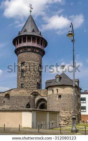 Ulrepforte with part of ancient City Wall in Cologne, Germany - stock photo