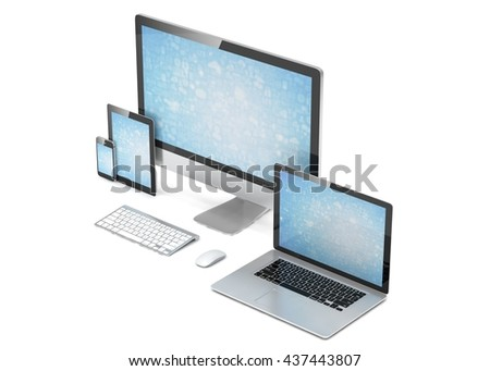 Ultimate web design, laptop, smartphone, tablet, computer, display. 3d rendering. - stock photo