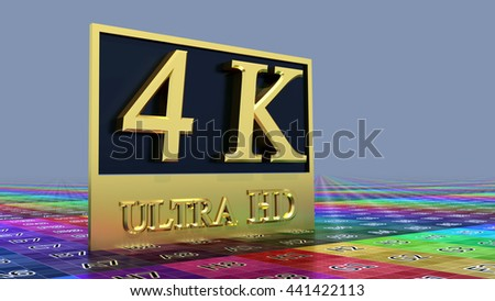 Ultra HD 4K icon on the color background - stock photo