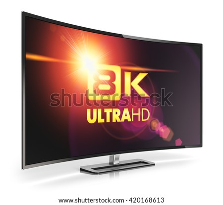Ultra high definition digital television screen technology concept: 3D render illustration of curved 8K UltraHD resolution TV cinema or computer PC monitor display isolated on white background - stock photo
