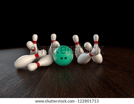 Ultra-high resolution 54th frame of  3D animation of ten-pin bowling strike - stock photo