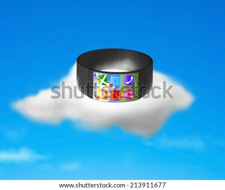 ultra-lightweight curved screen smartwatch on cloud with apps of line, map, trend chart, e-mail, music, phone - stock photo