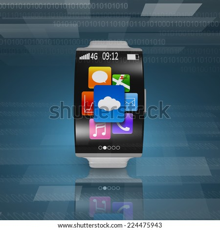 ultra-lightweight curved screen smartwatch with steel watchstrap on tech background - stock photo