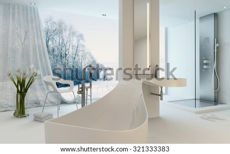 Ultra Modern Design Bathroom interior with unusual shaped bathtub, shower and floor-to-ceiling window with a winter landscape view. 3d Rendering. - stock photo