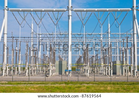 Ultra modern high voltage transformation power station for electrical Industry with several transformers overview - stock photo