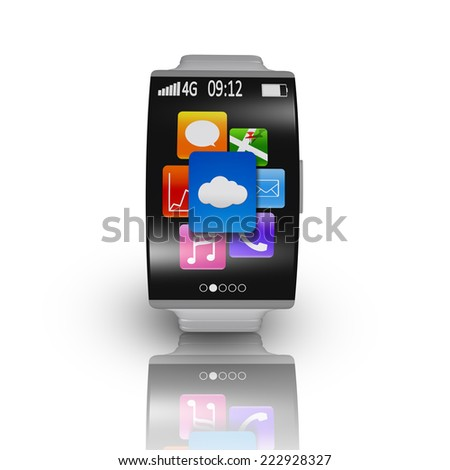 ultra-thin curved screen smartwatch with metal watchband isolated on white - stock photo