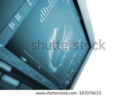Ultrasound machine. isolated on white  - stock photo