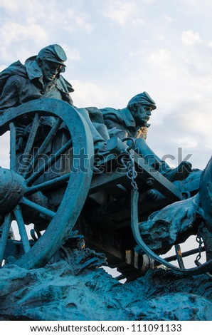 Ulysses S. Grant Cavalry Memorial in front of Capitol Hill in Washington DC, United States - stock photo