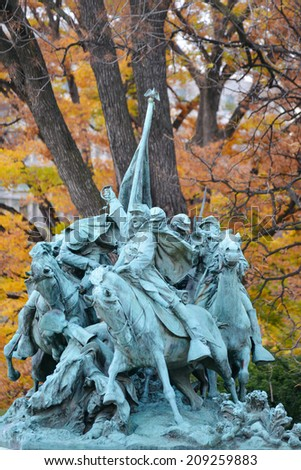Ulysses S. Grant Cavalry Memorial in front of Capitol Hill in Washington DC, United States - Autumn scene  - stock photo