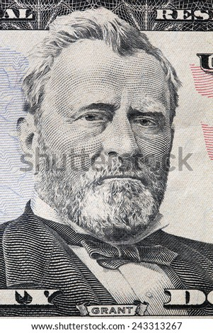 Ulysses S. Grant portrait on a twenty dollar bill. Close up. USD, American Dollar, The United States currency, money concept - stock photo