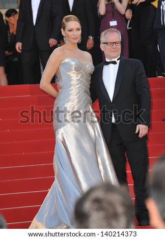 Uma Thurman & Thierry Fremaux, director of the Festival de Cannes, at the closing awards gala of the 66th Festival de Cannes. May 26, 2013  Cannes, France - stock photo