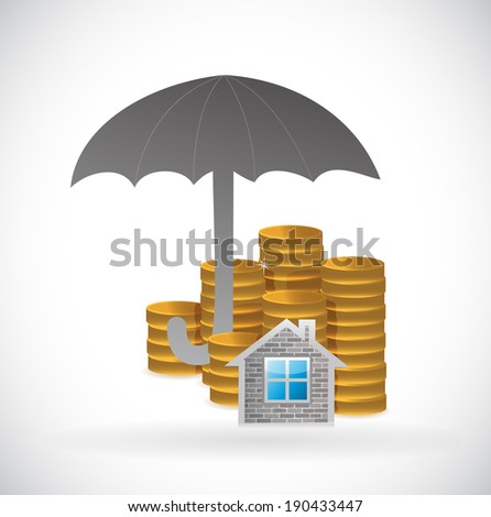 umbrella and home and coins underneath. illustration design over a white background - stock photo