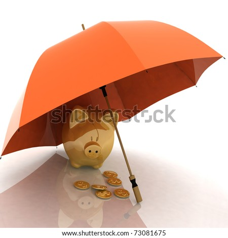 umbrella and piggy-bank. conception of defence of financial accumulations - stock photo