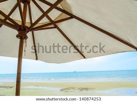 Umbrella Beach&sea in thailand - stock photo