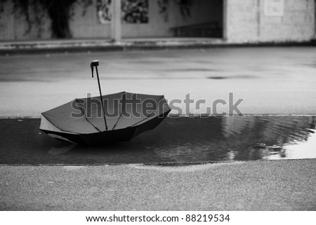 Umbrella in a puddle - stock photo