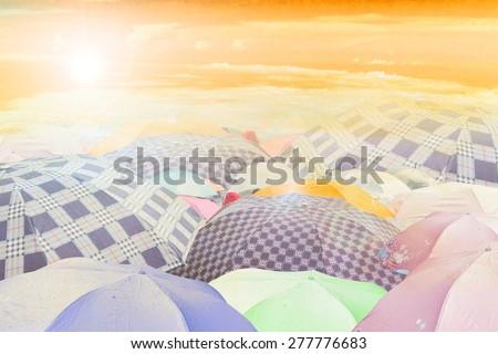 umbrella in sun sky - stock photo