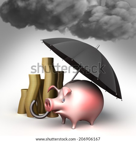 Umbrella protects piggy bank,  from bad weather. Finance illustration - stock photo