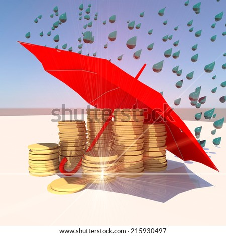 umbrella red - protect your investments, money, savings - stock photo