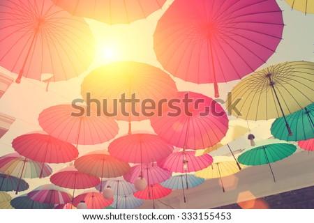Umbrella street - stock photo