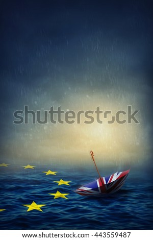 Umbrella with the flag of the United Kingdom and sea with the flag European Union.Brexit concept. - stock photo