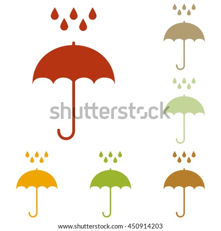 Umbrella with water drops. Rain protection symbol. Flat design style. Colorful autumn set of icons. - stock photo